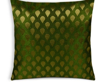 Olive and Gold Tear Drop Silk Cushion Cover - Handmade Silk Throw Pillow - Decorative Pillow Cover - Cushion Cover