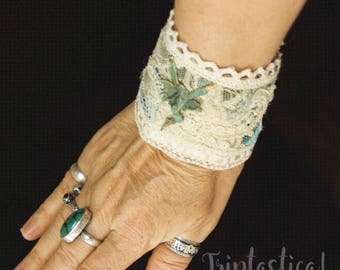 One of a Kind Handmade Fabric Cuff, Friendship Bracelet, SteamFairy Bracelet, Mother's Day Gift, Triptastica Eco Couture