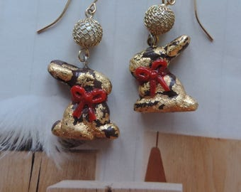 "Creative gourmet jewelry. Earrings. ""Theme:""Easter""."" Chocolate bunny"""