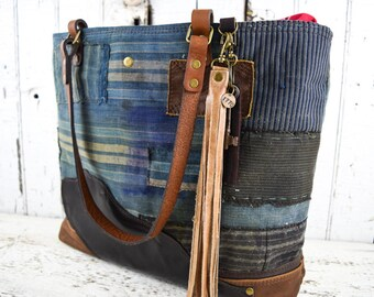 JAPANESE BORO PATCHWORK Tote Bag Purse Repurposed Antique Textiles