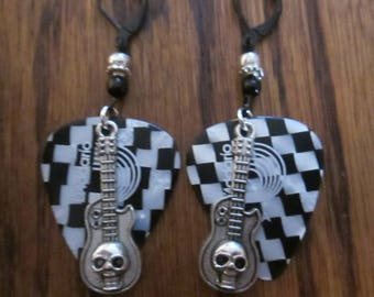D'Addario Checkerboard Black / White Guitar Pick Earrings with Silver Skull Guitar Charms