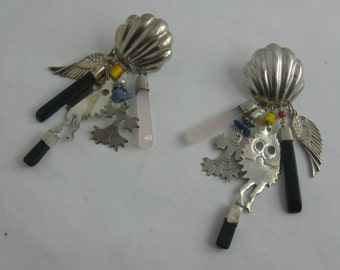 Crazy earrings in sterling silver (Ag 925). VINTAGE ear studs
