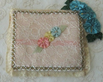 Vintage Boudoir Hanky / Hankerchief Holder  - Lace and Silk with Ribbonwork Flowers