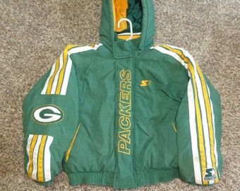Vtg Green Bay Packers NFL Pullover Starter Hooded Winter Jacket Sz Youth S