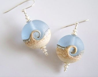 Frost Pale Blue and Tan Artisan Under the Sea Lampwork Earrngs - Item E2234