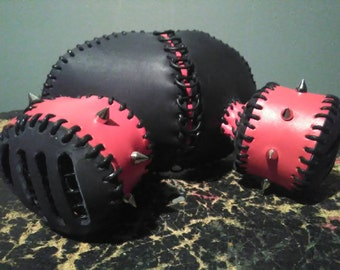 Black & Red Spike Leather Gas Mask