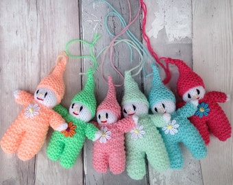 Knitted elf, pixie,gnome,   Hanging decoration, tree, pixie, gnome, home decoration,nursery