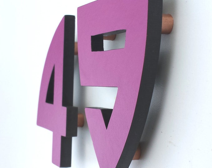"Arts and Crafts Architectural 4""/100mm high House numbers in virgin ColouredTrespa  1-5 numbers in Bala font"