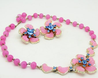Vintage Pink Thermoset and Blue Rhinestone Choker Necklace Clip Earrings Set.