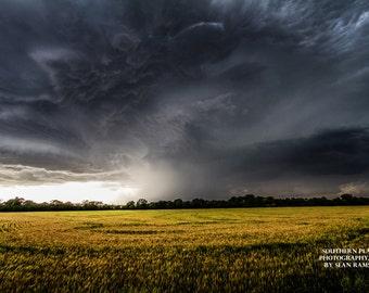 Sky Photography, Kansas Picture, Cloud Photo, Yellow Fields, Nature Storm, Photography Kansas, Rain Picture, Natural Print, Great Plains