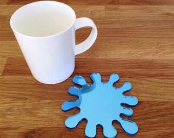 Splash Shaped Blue Mirror Finish Acrylic Coasters