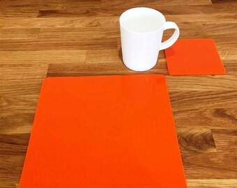 Square Placemats or Placemats & Coasters - in Orange Gloss Finish Acrylic 3mm