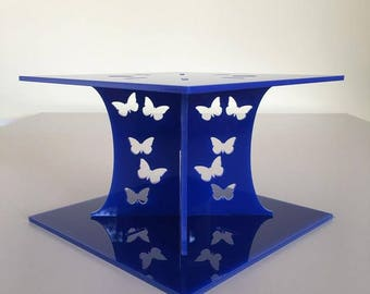 """Butterfly Square Blue Gloss Acrylic Cake Pillars/Cake Separators, for Wedding / Party Cakes 10cm 4"""" High, Size 6"""" 7"""" 8"""" 9"""" 10"""" 11"""" 12"""""""