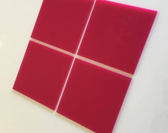 "Pink Gloss Acrylic Square Crafting Mosaic & Wall Tiles, Sizes: 1cm to 20cm - 1"" to 7.9"""