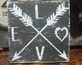 Love, Wood Sign, Arrows, Rustic Wood Sign, Arrow Decor, Arrow Sign, Home Decor, Gift Idea, Rustic, Gallery Wall, Love Sign, Unique Gift