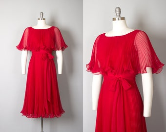Vintage 1970s Dress | 70s MISS ELLIETTE Red Chiffon Accordion Pleated Ruffled Party Dress (small)