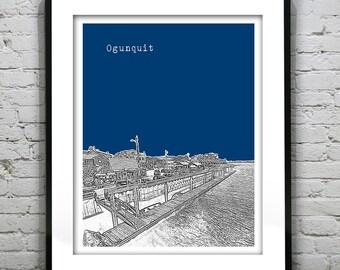 Ogunquit Skyline Poster Art Print Maine ME Version 1