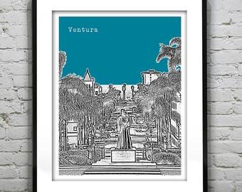 Ventura California Poster Art Skyline Print CA Version 1