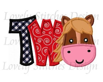 Horse Birthday Number TWO Applique Machine Embroidery Design NO:0594