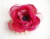 Pink flower brooch Raspberry pink Silk flower Pink flower hair clip Millinery flower Floral corsage brooch Floral fascinator Gift for her