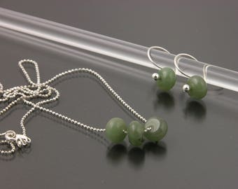 Sterling Silver Jade Earring & Necklace Set   Gem Spotlight Collection