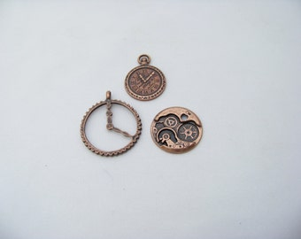 Steampunk Clock and Gears Charms 4860