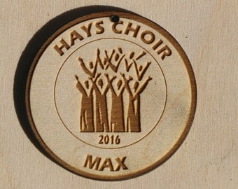"Personalized Wooden Choir Ornament 2.75"" diameter Player Name, School included"
