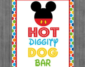 Mickey Mouse Birthday Sign, Hot Diggity Dog, Multi Dot