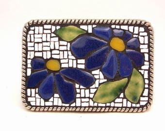 Mosaic Belt Buckle--Blue Flower White Pattern