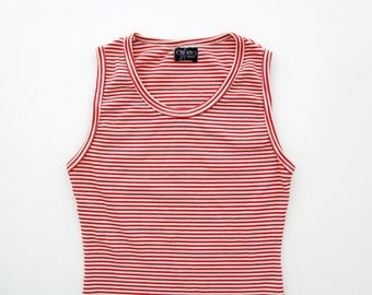 Vintage Top // Red and White Striped Ribbed Tank Top