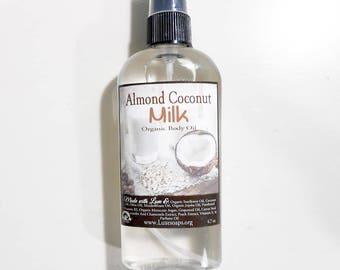 Almond Coconut Milk Organic Body Oil - In-Shower Hydrating Body Oil - Natural Hair Oil - Natural Body Oil - Argan Oil - Vegan 4.7oz 99%