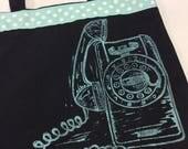 Rotary Phone Print Tote Bag