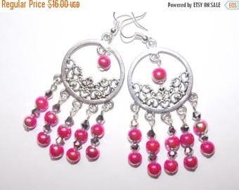 15%OFF Hot Pink Silver Chandelier Earrings