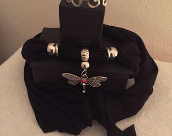 5 Piece Dragon fly charmed scarm in black and bracelet