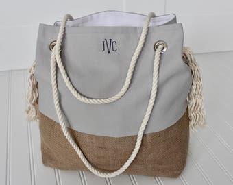 Jute Beach Bag | Burlap Beach Bag | Boho Bag | Bridesmaid Gift | Mother's Day Gift | Personalized Beach Tote | Summer Bag