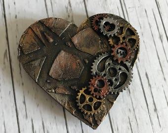 Steampunk Heart Clock & Cogs Mixed Media Art Fridge Magnet