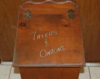 Vintage Tater Onion Box, Potato Box, Potato Storage, Onion Storage, Wood Box