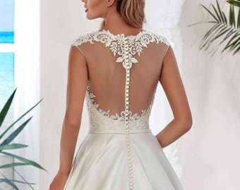 Bridal Lace Dress - Arabella Wedding Stunning Satin Dress - Long Wedding Dress - Romantic  Dress - Ivory Wedding Dress -Wedding Gown