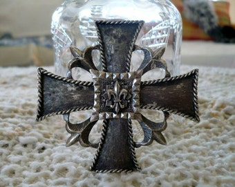 Large Silver French Maltese Cross Mid Century Pin Brooch or Pendant with French Fleur De Lis