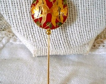 Cloisonne Fish Brass and Enamel Stick Pin Brooch Hat Pin