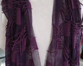 Long Rectangular Purple Scarf with Loops