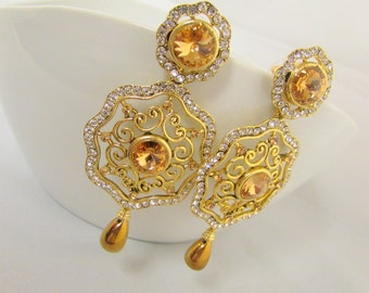 Golden Crystal Studded Statement Chadelier Earrings