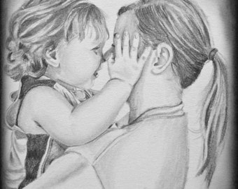 Couples Portrait, Family Portrait, Custom Portrait, Custom Pencil Portrait, Personalized Portrait, Personalised Portrait, Earth Child Art