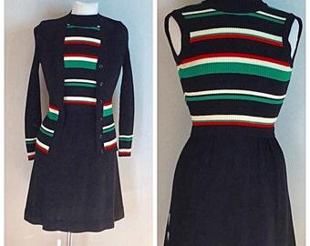 Vintage 60's 70's Roncelli Sweater knit dress & cardigan XS