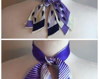 2 Vintage Silk purple Tri-Tie Ladies Neckties