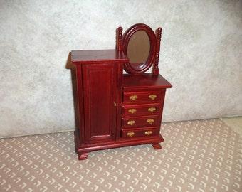 1:12 scale dollhouse Miniature Dark Mahogany Chifforobe