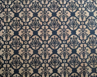 Natural Cork Fabric - Damask Black