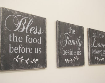 Bless The Food Before Us Wood Sign Kitchen Sign Dining Room Sign Wood Wallhanging Farmhouse Chic Distressed Wood Wedding Gift Handmade