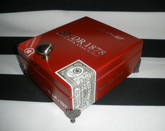 Red Wooden Cigar Box Valet, Man Box, Watch Box, Stash Box, Groomsman Gift, Father's Day Gift, Tampa, Authentic