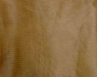 EMB39 Leather Cow Hide Cowhide Craft Fabric Olive Green Embossed Lizard 26 sf